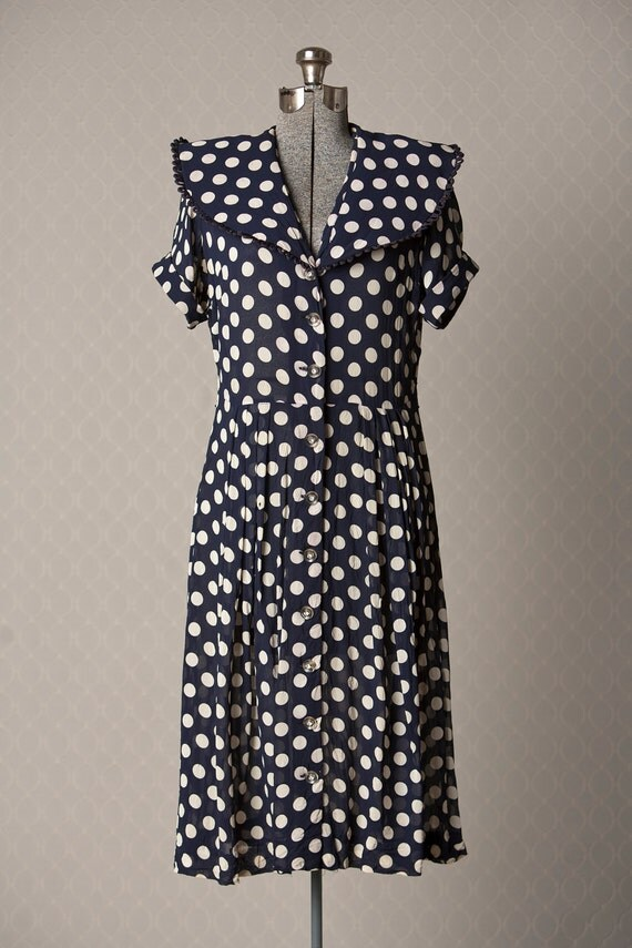Womens 1940s Sheer Blue and White Polka Dot Vintage Dress