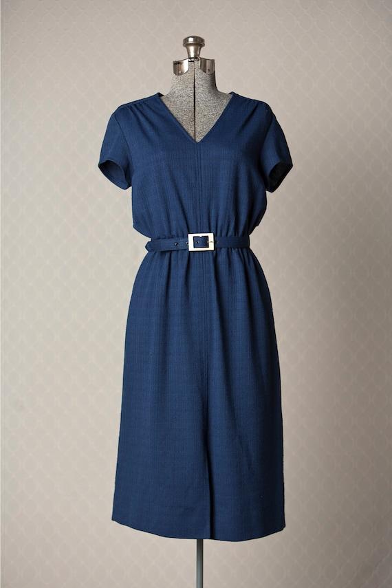 Womens 1970s Vintage Navy Blue Belted Short Sleeve Summer Dress
