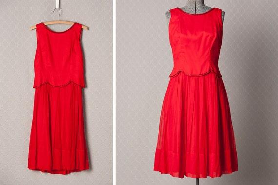Womens 1960s Red Formal Chiffon Party Dress // Medium
