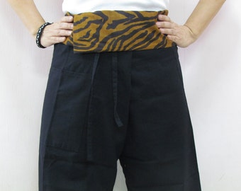Black Thai Fisherman Pants Patch Waist with Printed Cotton