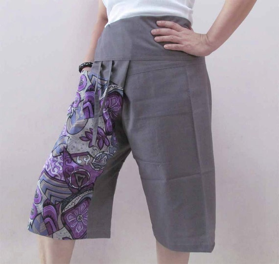 Gray 3/4 Thai Fisherman Pants Patch Leg with Printed Cotton