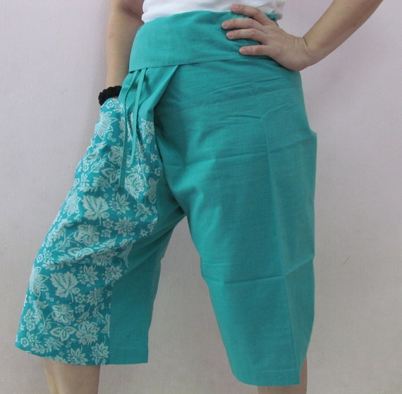Turquoise 3/4 Thai Fisherman Pants Patch Leg with Printed Cotton