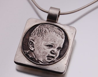 Custom Engraved Photo Pendant - small