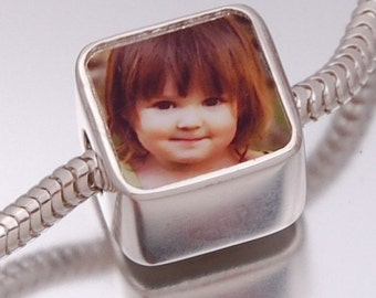 Personalized Photo Bead -  Solid Silver Photo Charm