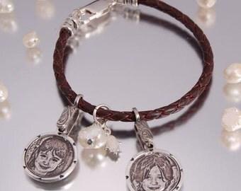 Photo Engraving Charm Bracelet