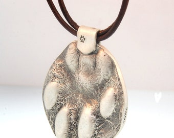 Real Size Paw Print In Fine Silver