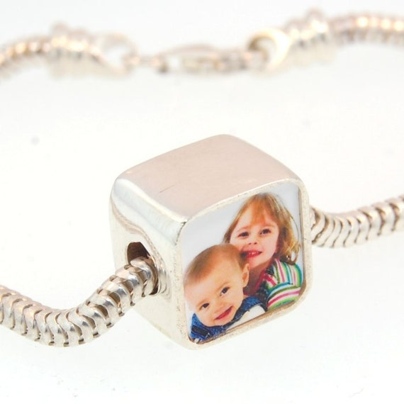 Double Sided Personalized Photo Bead -  Solid Silver Photo Charm