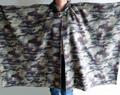 Fleece Poncho/ Cape - Hooded, Reversible  - Dark Camouflage / Dark Gray