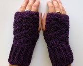 Purple Wrist Warmers Purple Fingerless Gloves Crochet Purple Eggplant