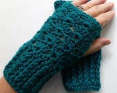 Teal Wrist Warmers Teal Fingerless Gloves Crocheted Handmade