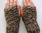 Wrist Warmers Fingerless Gloves Crocheted Taupe Brown Cream Variegated