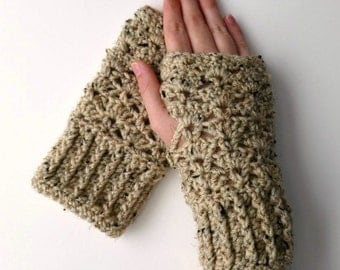 Wrist Warmers Fingerless Gloves Crocheted Cream Brown Variegated