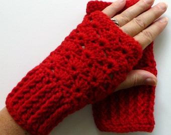 Red Fingerless Gloves Red Wrist Warmers Handmade Crochet