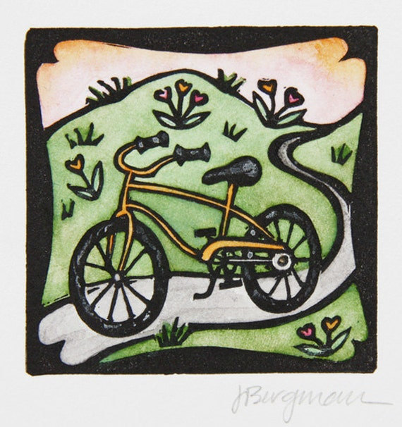 Bicycle, linocut with watercolor