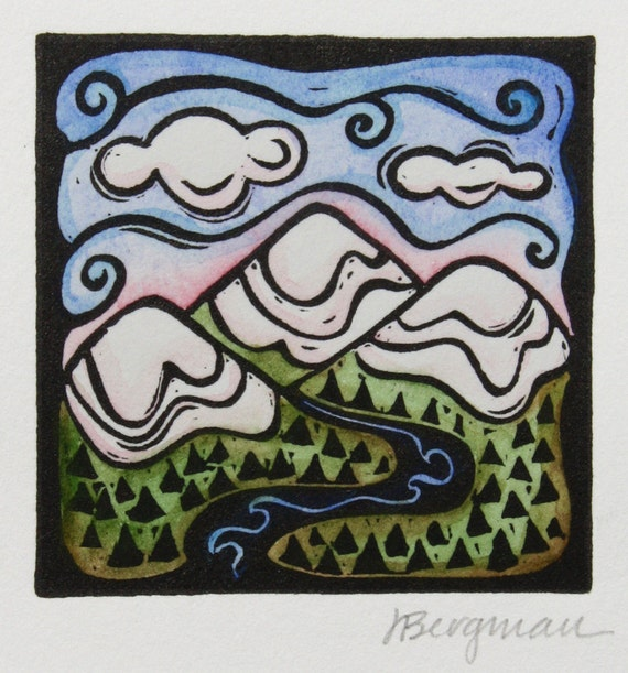 Mountains, linocut with watercolor