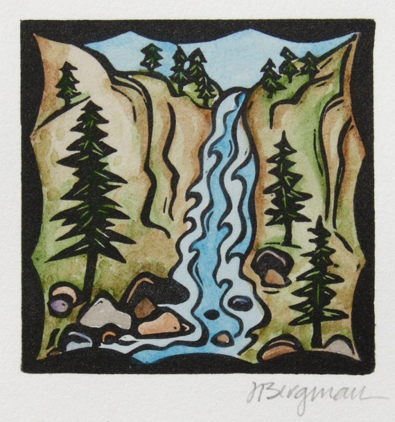 Waterfall, linocut with watercolor