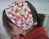 Strawberry Patch Pink and Green Ear Warmer Headband with Button Closure