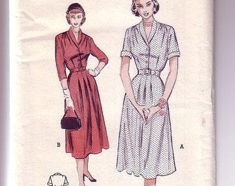 50s Vintage Pattern - Button-Front Dress - Butterick - UNUSED - Size 12