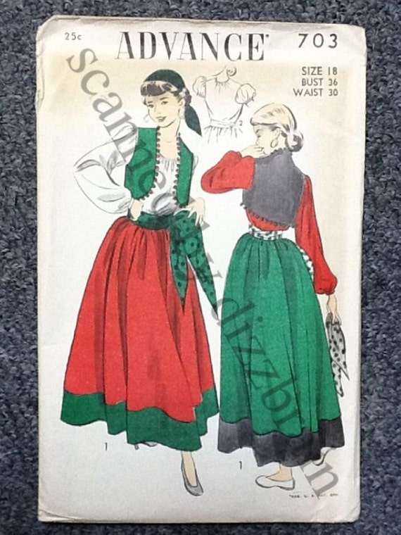 Halloween Costume Pattern - Gypsy - 1950s - Advance