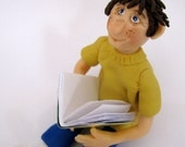 back to school, polymer clay boy reading a book