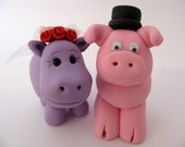 Hippo and piggy wedding cake topper, lavender and pink, bride and groom, funny wedding cake topper, polymer clay animals