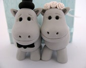 Hippo love - grey  - wedding cake topper - polymer clay