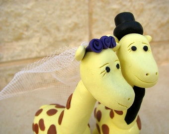 Giraffe wedding cake topper, bride and groom, yellow wedding, cute wedding cake toppers
