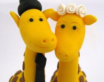 Personalized  - giraffe love - custom wedding cake topper - polymer clay