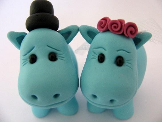 hippo bride and groom cake topper, custom wedding cake topper, cute wedding cake toppers