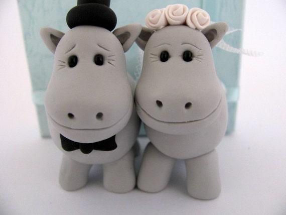 Hippo love - grey  - wedding cake topper - polymer clay