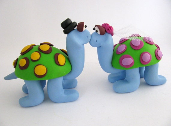 Wedding Cake Topper, Turtle Love, Polymer Clay