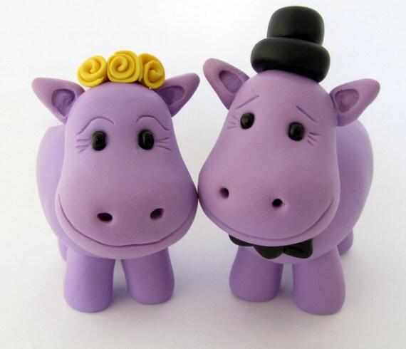 Hippo love, wedding cake topper, polymer clay