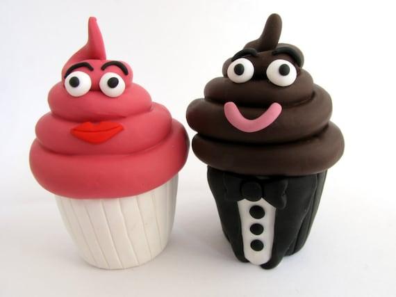 Cupcake wedding cake topper, summer wedding, bride and groom