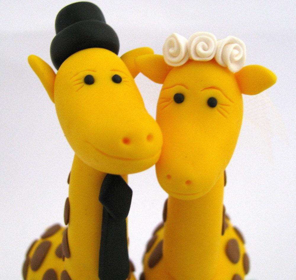 personalized giraffe love custom wedding cake topper