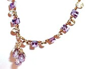 Like Lilac and Lemon Gemstones, A Necklace of Amethyst and Lemon Quartz