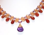 Like a Royal Collar: Necklace of Brandy Citrines, Amethyst and Antique Repro Glass