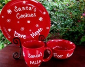 Personalized Santa's Cookie set  plate mug rudolph bowl