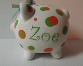 Preppy Personalized Polka Dot Large Piggy Bank