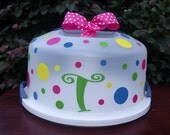 Large Personalzied Polka Dot Cake Carrier,Cake Plate