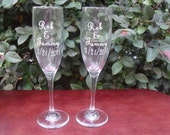 Personalized Wedding Champagne toasting glasses.Wine
