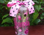 Personalized Polka Dot Acrylic Cup with Straw