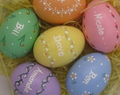 Set of 7 Custom Personalized Hand-Painted Ceramic Easter Eggs