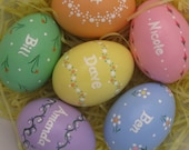 Set of 5 Custom Personalized Hand-Painted Ceramic Easter Eggs