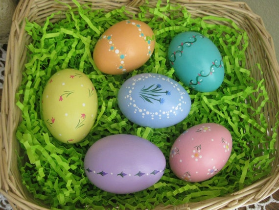 Set of Six Hand-Painted Ceramic Easter Eggs (Set B)