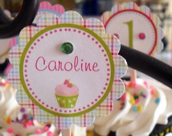 Cupcake Theme (pink, blue, green) Girl DIY Printable Party Circles (for cupcake toppers, favor tags)