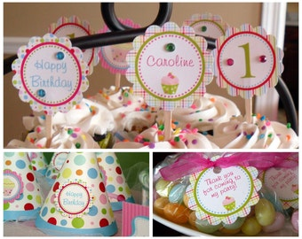 Cupcake Theme Essentials Birthday Party Package - Girl DIY Printable