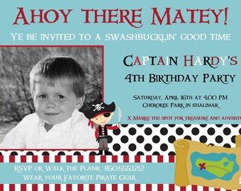 Pirate Boy Printable Party 5x7 Photo Invitation