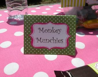 Pink & Green Monkey - Tent Food Cards - Girl Birthday PRINTABLE