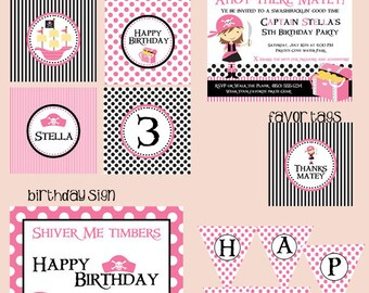 Pink Pirate Mini Birthday Party Package - Girl DIY Printable