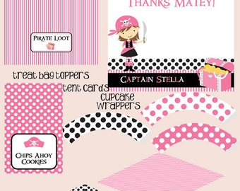 Pink Pirate - Big Party Package - Girl Birthday - PRINTABLE